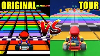Mario Kart Tour - All Retro Tracks Comparison (Mobile vs Original)