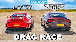 Porsche 911 GT3 vs Bentley Continental GT - DRAG RACE!