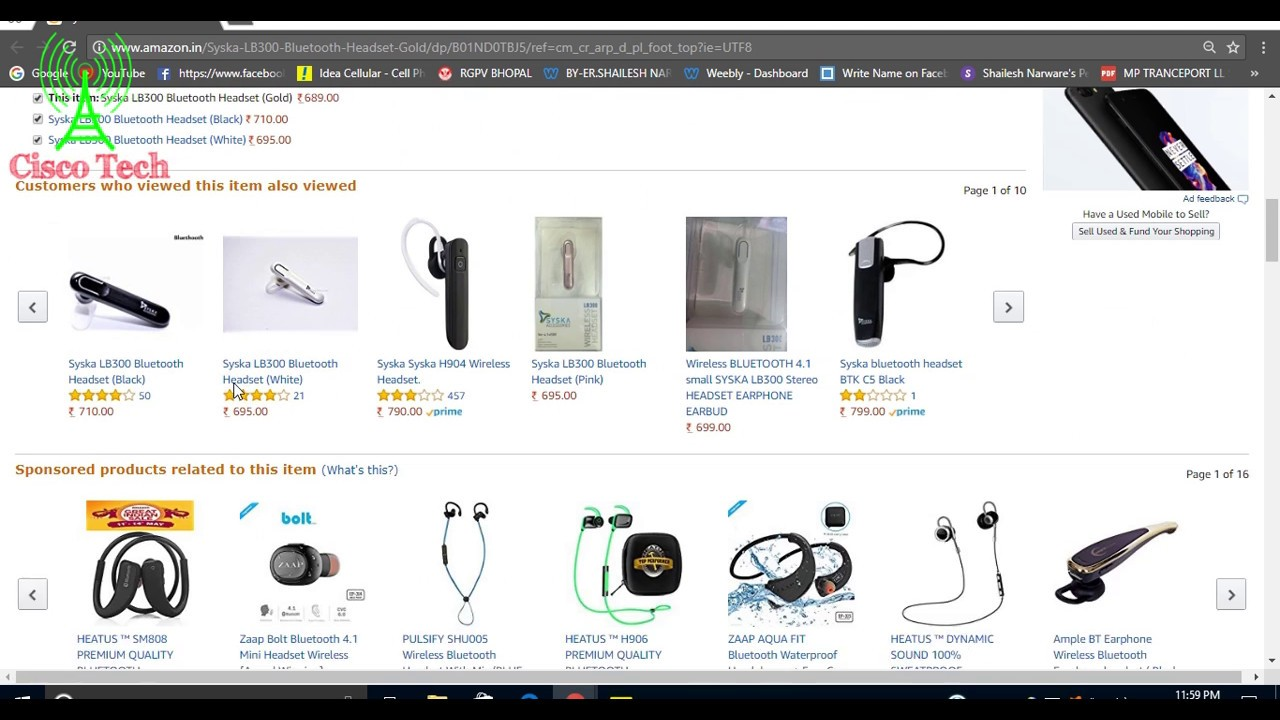 5d86043c9b2 Syska LB300 Bluetooth Headset Wireless Gold Cheap Rate Bluetooth All Mobile  & Laptops Amazon India