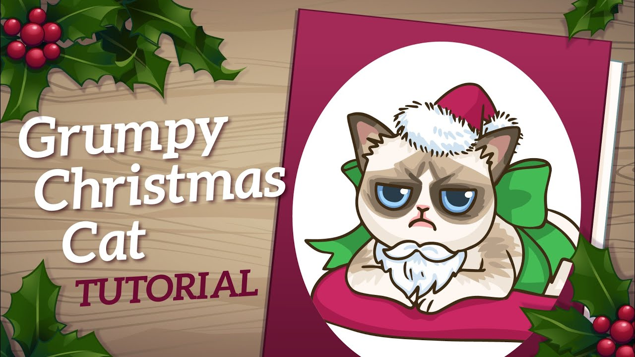 Grumpy Cat Art Tutorial - How to Draw Christmas Card Art - YouTube