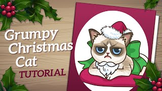 Grumpy Cat Art Tutorial - How to Draw Christmas Card Art
