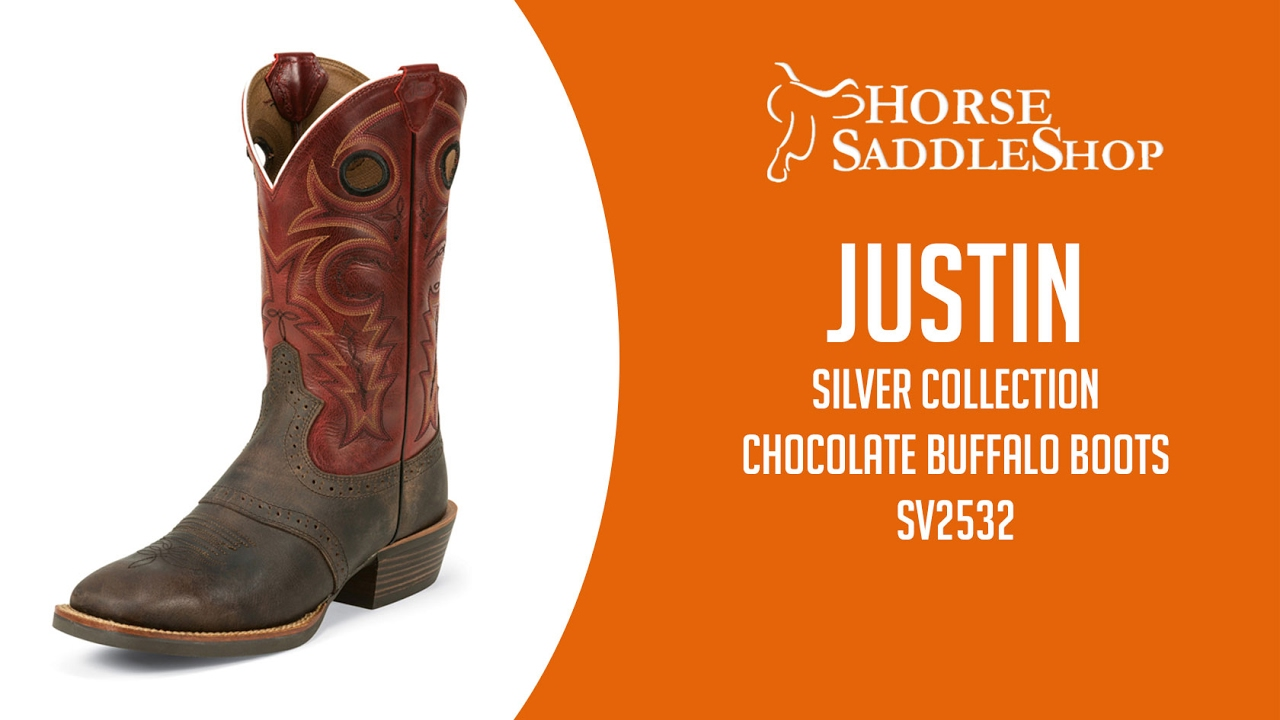 Justin Boots Men39s Silver Collection Chocolate Buffalo