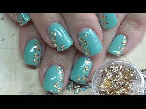 foil nails teal mint & gold