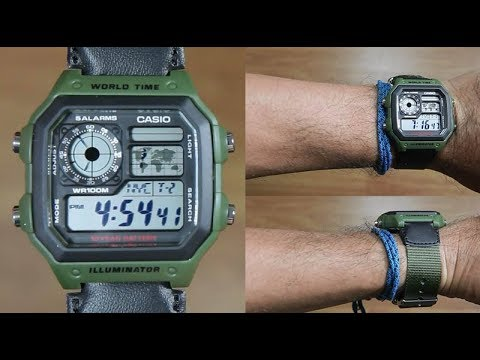 CASIO STANDARD AE 1200WHB 3BV CLOTH BAND UNBOXING