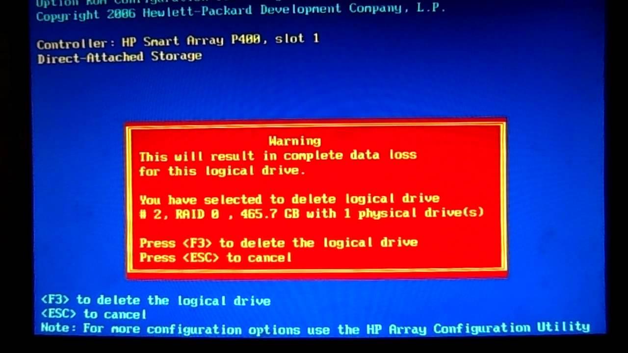 configure RAID on hp server