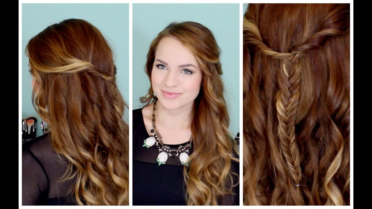 Easy Beachy Half Up Hairstyle For The Holidays Youtube