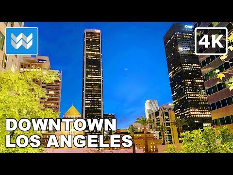 🌅 Sunset Walk At Downtown Los Angeles In California USA Travel Guide 🎧  Binaural City Sound【4K】