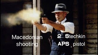 Stechkin Automatic pistol. APS USSR. Shooting with two hands.