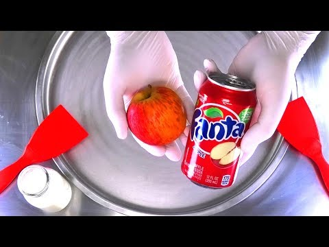 How to make Apple and Fanta Ice Cream Rolls | rolled fried Ice Cream - most satisfying ASMR Food DIY