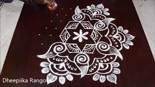 Beautiful friday muggulu design with 9*5 dots * easy shank kolam * simple rangoli designs