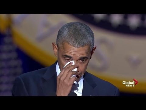 Obama tears up while speaking about wife,...