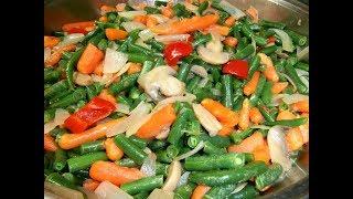 מתכון שעועית ירוקה עם ירקות ופטריות בריא ,מהיר ובריא בקלי קלות הערוץ הרשמי