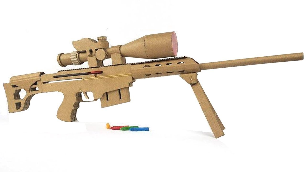 How To Make Cardboard Sniper That Sh00ts With Magazine Youtube