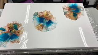 Beautiful Brown and Teal Blown Acrylic Paint Pour