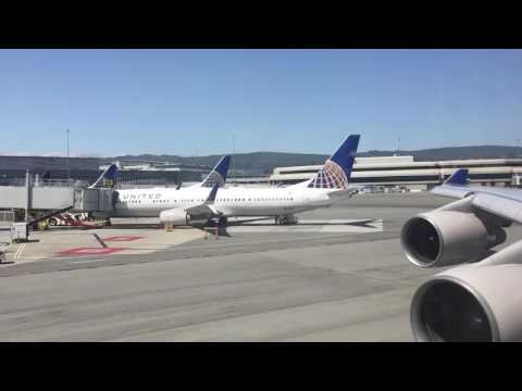 United Airlines 747-400 Taxi and Takeoff from San Francisco