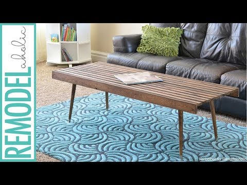 easy building tutorial mid century modern slat coffee table or bench