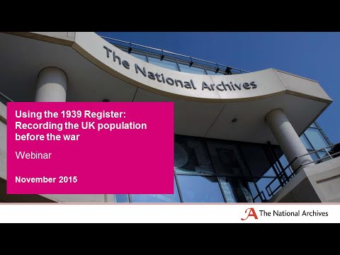 Webinar - Using the 1939 Register: Recording the UK population before the war