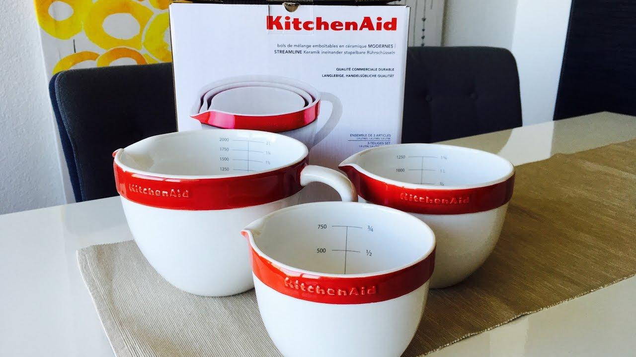 KitchenAid Keramik Rührschüsseln KBLR03NBER in Empire Rot Unboxing ... | {Rührschüsseln 25}