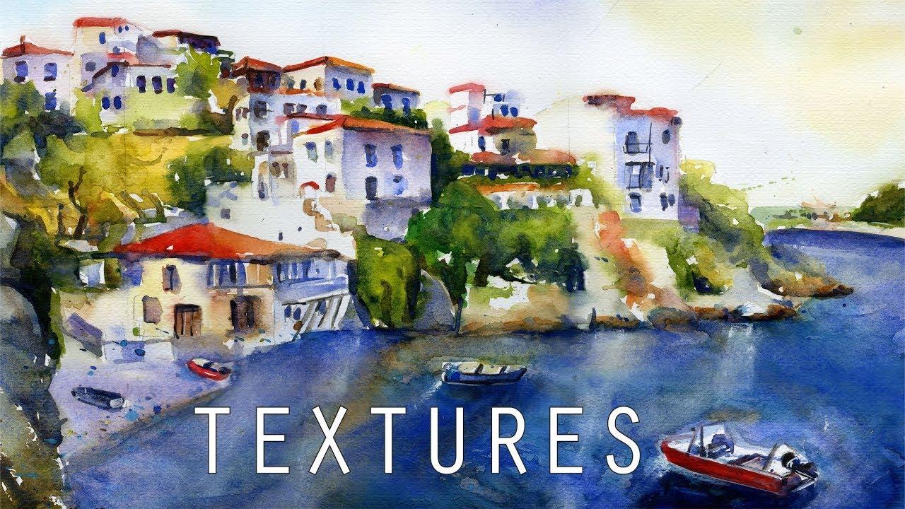 Watercolor Landscape Skiathos Greece - Υδατογραφία Σκιάθος