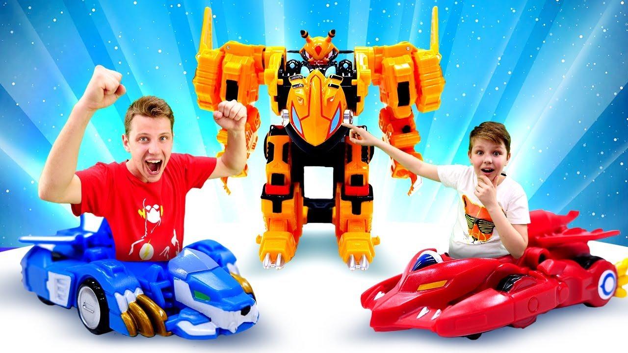 Видео для детей - Лео и Драка на Турнире Монкарт! - Игры гонки и машины трансформеры.