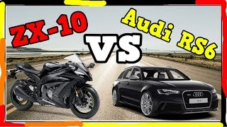 Audi RS6 vs Motorcycle ZX-10 - HIGHWAY RACE - AMAIZING ADRENALINE EXPIRIENCE - Let see who will WIN