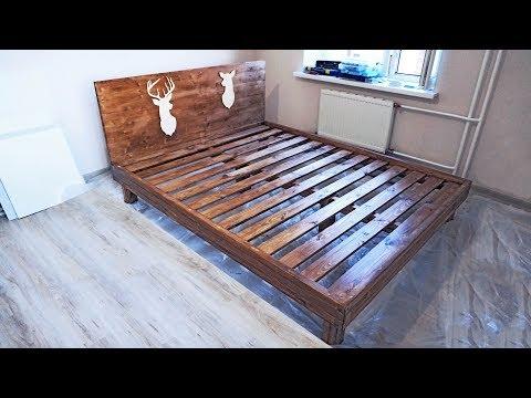 видео: Кровать своими руками из дерева (бруски и мебельный щит)