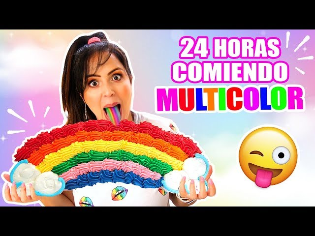 24 HORAS COMIENDO ARCOIRIS | RETO SandraCiresArt | Comida UNICORNIO MULTICOLOR