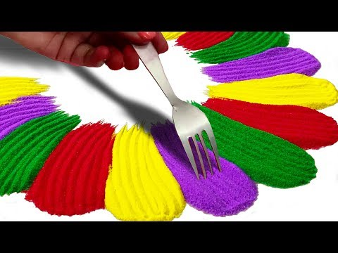 Colourful Rangoli Design बनाने का तरीका | Rangoli Easy and Colourful Designs for Diwali
