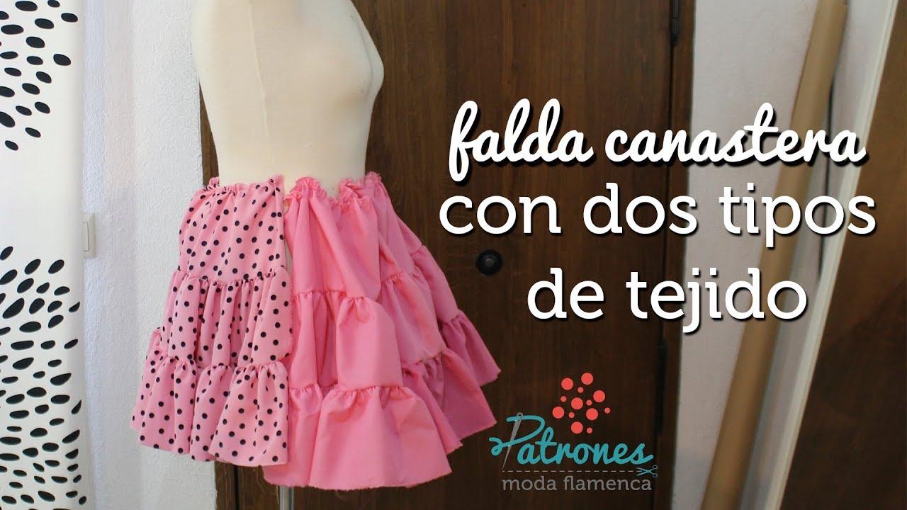 664410e8e Falda canastera con dos tipos de tejido by Patronista Flamenca