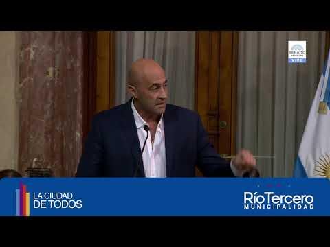 Intendente Alberto Martino ante los senadores por la Fábrica Militar