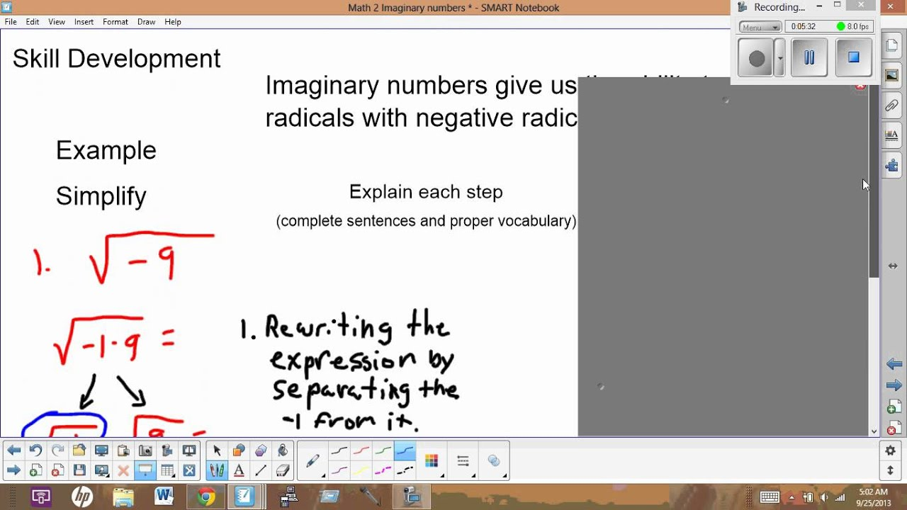 Math 2 Imaginary Numbers Simplifying Radicals With Negative Radicands