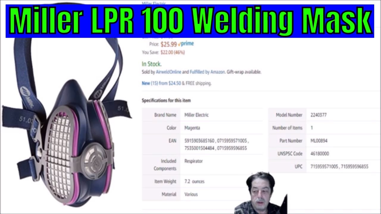 miller electric lpr-100 ml00895 half mask welding respirator