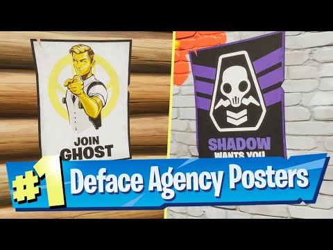 Deface GHOST or SHADOW Recruitment Posters Location - Fortnite Battle Royale