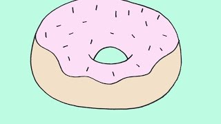 How To Draw A Donut Doughnut Cartoon Step-by-Step Drawing Lesson For Beginners
