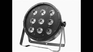 ОБЗОР светодиодный прожектор  led par 9 х 12w заливка, стробоскоп , светомузыка