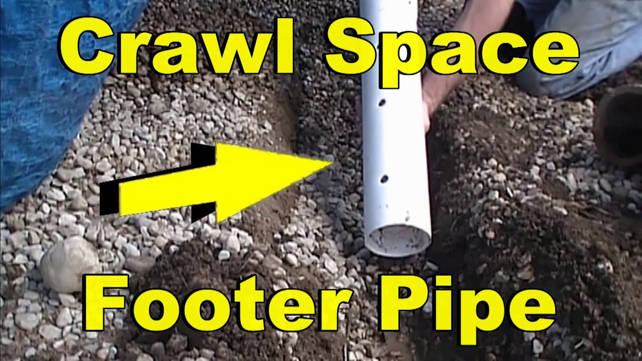 Crawl E Waterproofing Perimeter Drain System Perforated Pipe And Gravel