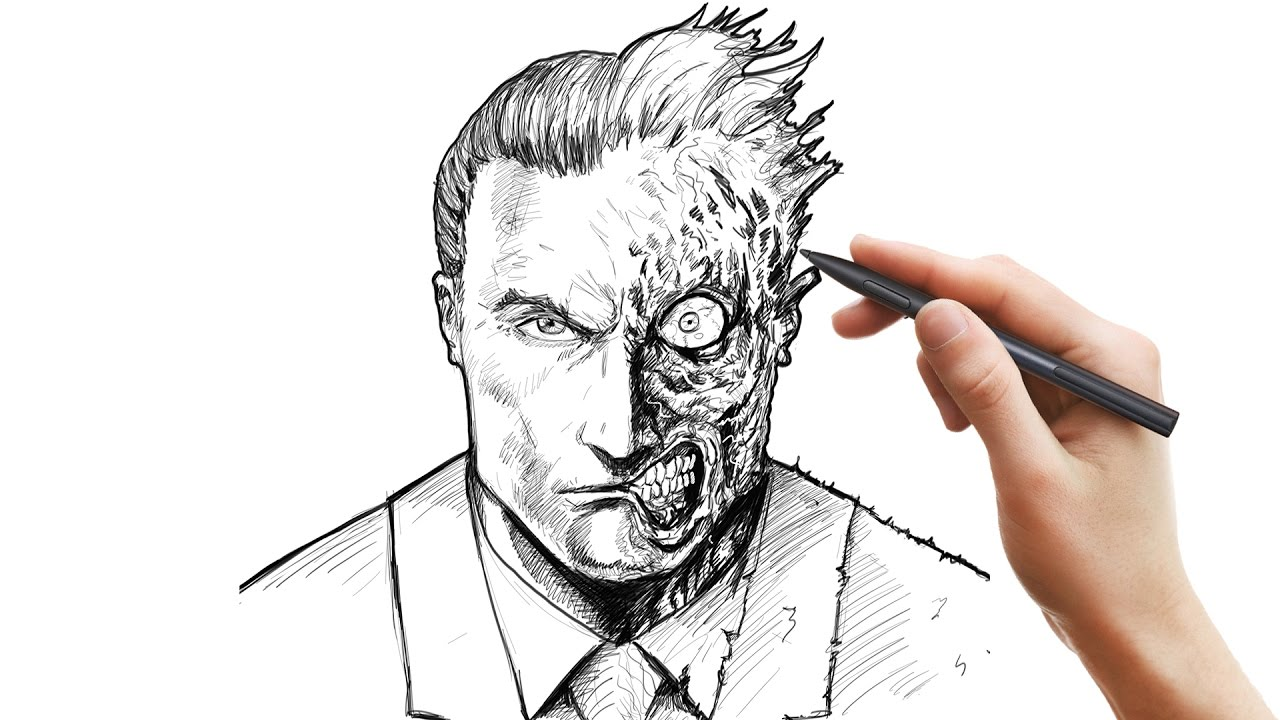 Drawing Two Face Using Sketchbook Pro Youtube