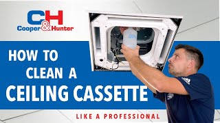Cleaning Ductless Ceiling Cassette Air Conditioner (Cooper&Hunter)