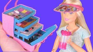 16 DIY Miniature Barbie Hack & Crafts, Makeup kit Box, Hat with Disney Princess, and more~