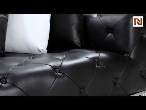Jazz - Black Modern Tufted Leather Sectional Sofa VG2T0687