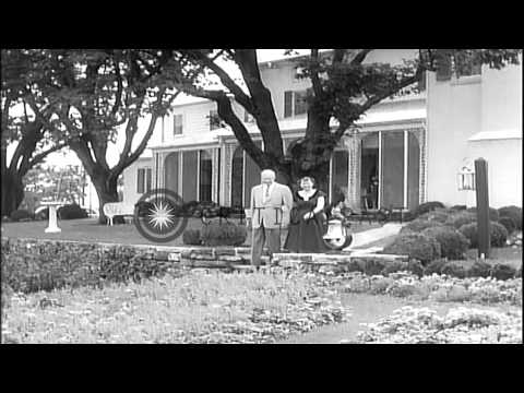President and Mrs. Dwight D. Eisenhower, with their grandchildren, at their farm ...HD Stock Footage