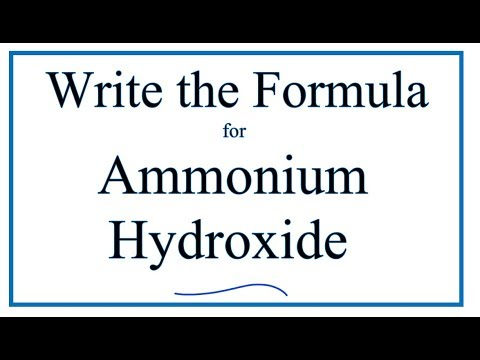 How To Write The Formula For Ammonium Hydroxide