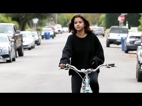 Pop Star Selena Gomez Gets Out For A Bike Ride