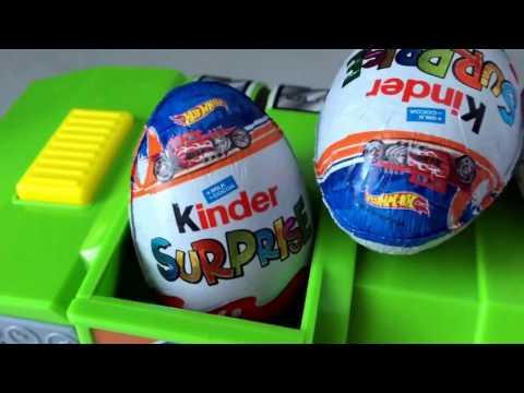 ХОТ ВИЛС Киндер Сюрприз РАСПАКОВКА игрушки машинки HOT WHEELS Kinder Surprise unboxing