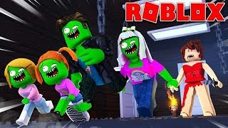Zombie Roblox Family | Survive The Red Dress Girl!