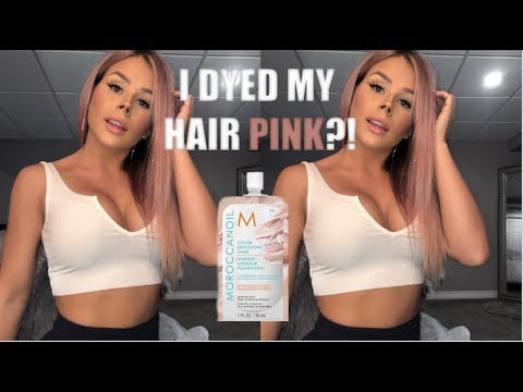 I DYED MY HAIR PINK?! | MOROCCANOIL COLOUR DEPOSIT MASK