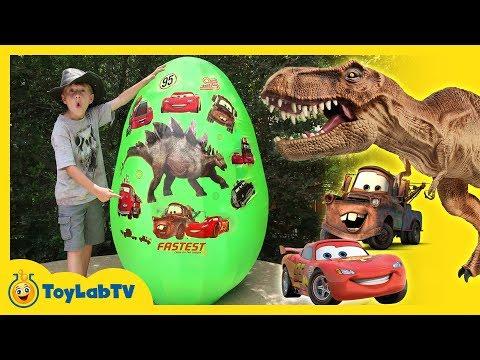 GIANT EGG SURPRISE DINOSAURS VS CARS! Dinosaur & Disney Cars 3 Movie Toys, Biggest Lightning McQueen