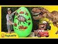 Giant Egg Surprise Dinosaurs Vs Cars! Dinosaur & Disney Cars 3 Movie Toys, Biggest Lightning Mcqueen video