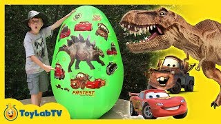 Giant Egg Surprise with Dinosaurs vs Cars 3 Toys & Lightning McQueen Videos For Kids