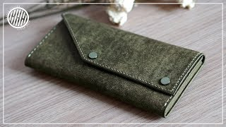 [Leather Craft] Two button long wallet / Free PDF pattern / how to